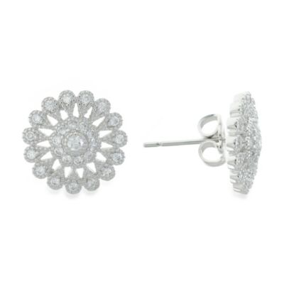 CZ by Kenneth Jay Lane Cubic Zirconia Edwardian Flower Stud Earrings