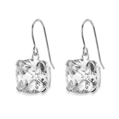 CZ by Kenneth Jay Lane 12 cttw Cubic Zirconia Cushion Cut Drop Earrings