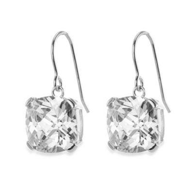 CZ by Kenneth Jay Lane 12 cttw Cubic Zirconia Cushion Cut Drop Earrings