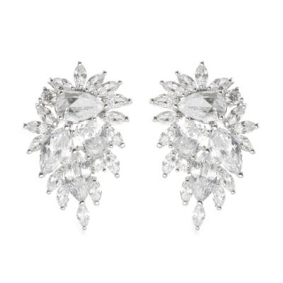 CZ by Kenneth Jay Lane Cubic Zirconia Curved Cluster Statement Earrings