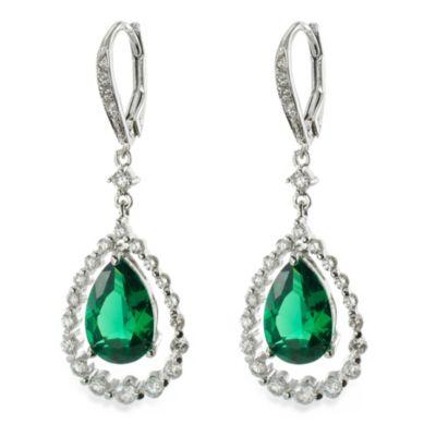 CZ by Kenneth Jay Lane 12 cttw Green Cubic Zirconia Pear Swing Earrings