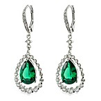 CZ by Kenneth Jay Lane 12 cttw Green Cubic Zirconia Pear Swing Earrings