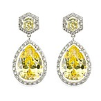 CZ by Kenneth Jay Lane 14 cttw Cubic Zirconia Statement Pear Dangle Earrings