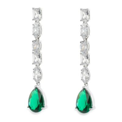 CZ by Kenneth Jay Lane 14 cttw Cubic Zirconia & Linear Pear Drop Earrings