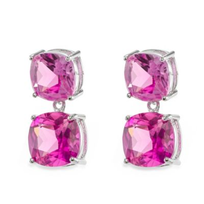 CZ by Kenneth Jay Lane 22 cttw Double Drop Cushion Earrings