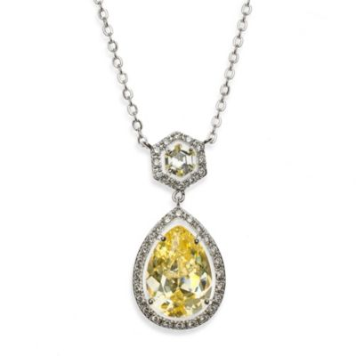 CZ by Kenneth Jay Lane Cubic Zirconia Canary Dangle Pear Necklace