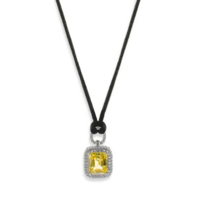 CZ by Kenneth Jay Lane Emerald-Cut 8 cttw Cubic Zirconia Pendant