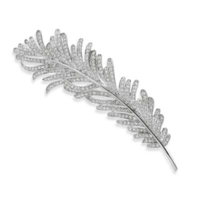 CZ by Kenneth Jay Lane Rhodium Plated Brass 8 cttw Cubic Zirconia Feather Brooch