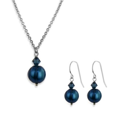 Honora Freshwater Cultured Pearl and Crystal Pendant Necklace and Earring Set in Navy