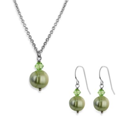 Honora Freshwater Pearl and Crystal Pendant Necklace and Earring Set in Mint