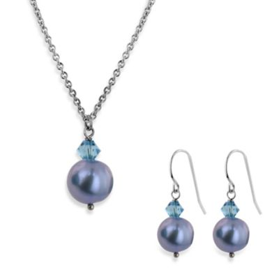 Honora Freshwater Pearl and Crystal Pendant Necklace and Earring Set in Aqua