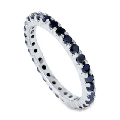 1 Carat Black Diamond White Gold Eternity Ring Size 5