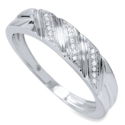 10K White Gold .10 cttw Diamond Size 7 Men's Diagonal Ring