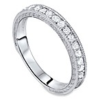 14K White Gold Vintage Diamond Wedding Band