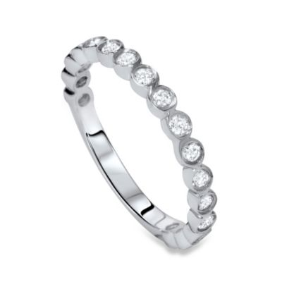Stackable Bezel-Set Diamond Wedding Ring