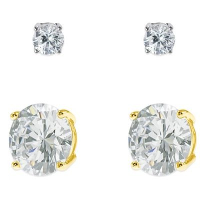 CZ by Kenneth Jane Lane 18K Gold-Plated 10.0 cttw Cubic Zirconia Stud Earrings w/Bonus Stud Earrings