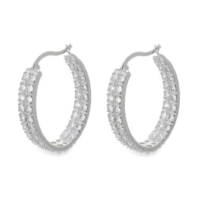 CZ by Kenneth Jay Lane Silver Rhodium Plated Brass Double Row Cubic Zirconia Hoop Earrings