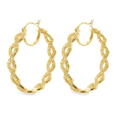 CZ by Kenneth Jay Lane 18K Gold Plated Brass Twisted Hoop Earrings