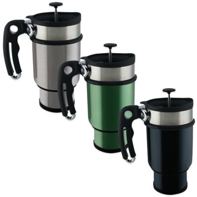 Planetary Design Double Shot 14-Ounce French Press Travel Mug in Silver