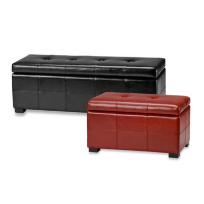 Safavieh Hudson Leather Maiden Tufted Large Storage Ottoman in Cordovan