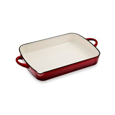 Denby Cast Iron 12-Inch by 9-Inch Oblong Dish in Cherry
