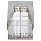 Vintage Sheer Window Curtain Swag Valance Pairs in Ecru/Gold