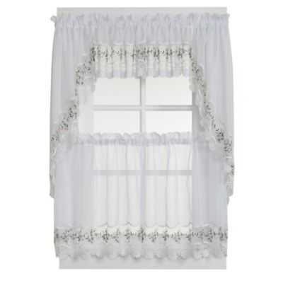 Vintage Sheer Window Curtain Tier Pairs in White/Blue
