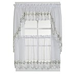 Vintage Sheer Window Curtain Valance in White/Blue