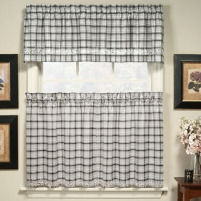 Dover 24-Inch Window Curtain Tier Pair in Black