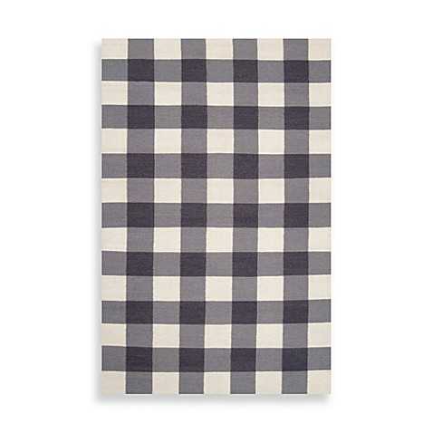 Aquilla Checked Rug in Gray/White