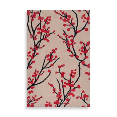 angelo:HOME Hudson Park 2-Foot x 3-Foot Floral Rug in Feather Grey/Red
