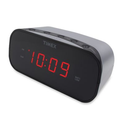 Timex® Alarm Clock with 0.7-Inch Red Display in Silver