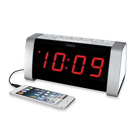 buy timex am fm jumbo display dual alarm clock radio in white from bed bath. Black Bedroom Furniture Sets. Home Design Ideas