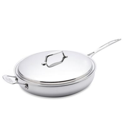 USA Pan 5-Ply Stainless Steel 13-Inch Covered Fry Pan with Helper Handle