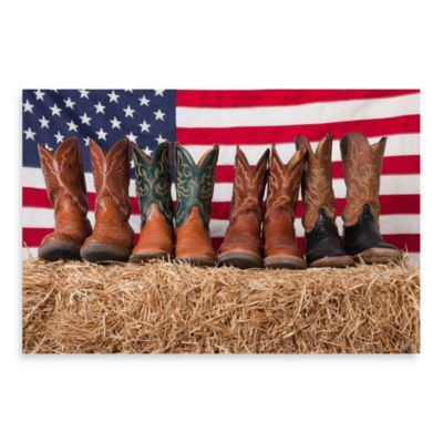 PrintCopia Collection Cowboy Boots On Haystack Wall Decor