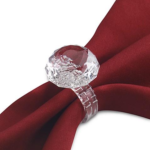 Prodyne Faux Diamond Ring Napkin Ring Set Of 4
