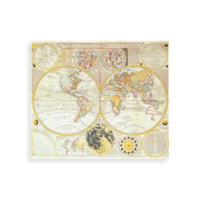 "PrintCopia Collection ""Double Hemisphere World Map"" Canvas Print"