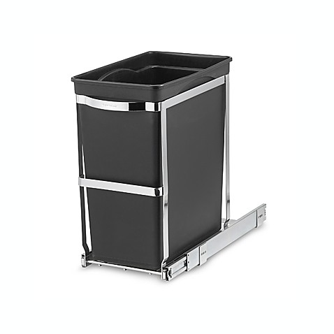 Simplehuman commercial grade 30 liter pull out trash can for Bins for kitchen cabinets