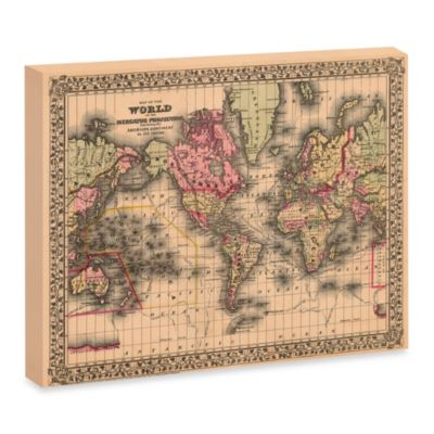 Map of the World 1867 Canvas Wall Art