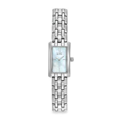 Citizen Ladies Eco-Drive Silhouette Rectangle Mother-of-Pearl Stainless Steel Watch