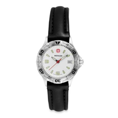 Wenger® Ladies Swiss Military Brigade White Dial w/Black Leather Strap Watch