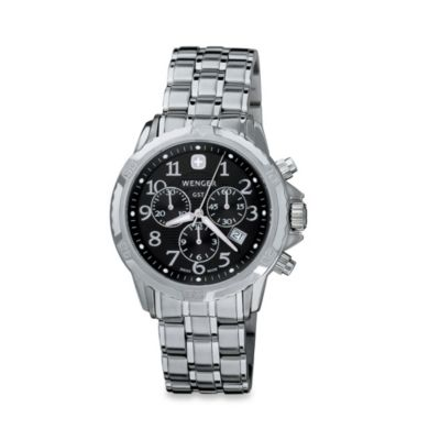 Wenger® Men's GST Chrono-Black Dial Stainless Steel Watch