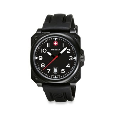Wenger® Men's Aerograph Cockpit Black Dial w/Black Leather Strap Watch
