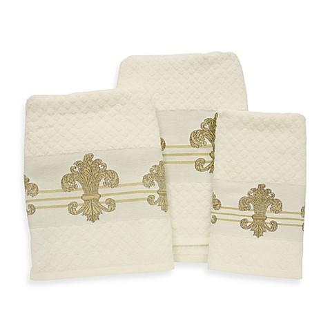 Buy fleur de lis gold ivory fingertip towel from bed bath beyond - Fleur de lis bath towels ...