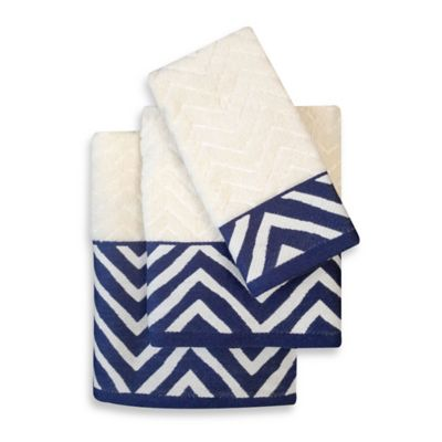 Colordrift Chevron Navy Bath Towel