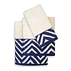Colordrift Chevron Navy Fingertip Towel