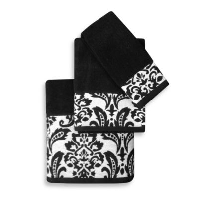 Colordrift Arabesque Black Hand Towel