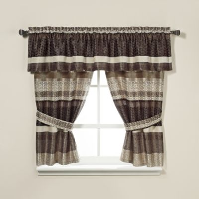 Croscill® Portland Window Curtain Panel Pair in Black/Cream