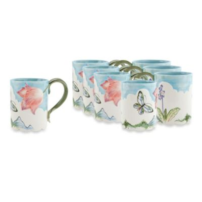 Fitz & Floyd Flourish 14-Ounce Mugs (Set of 8)