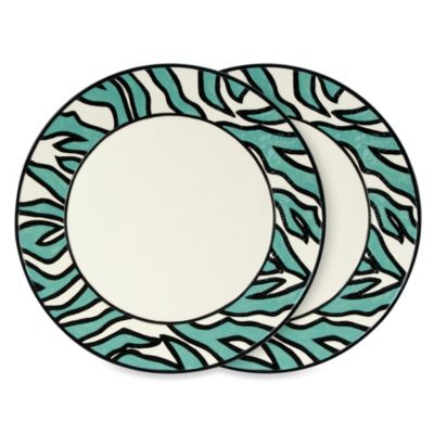 Fitz & Floyd Cockatoo 14-Inch Zebra Striped Platters in Blue (Set of 2)